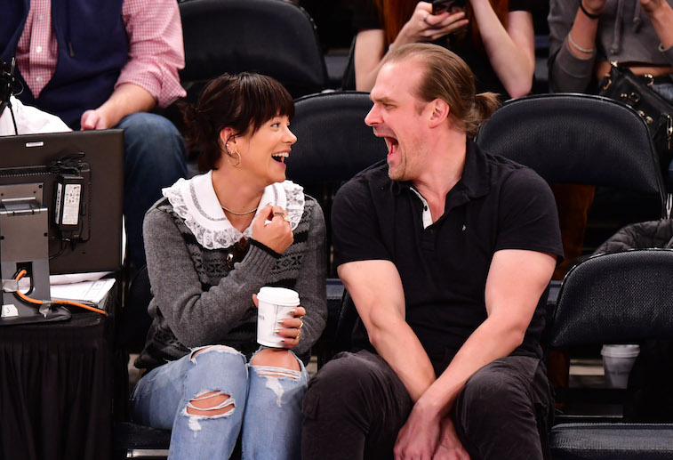 Lily Allen and David Harbour attending a basketball game