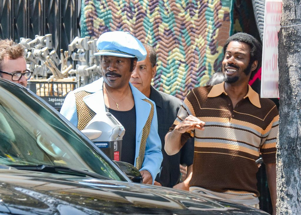 Chris Rock and Eddie Murphy on Dolemite Is My Name Set