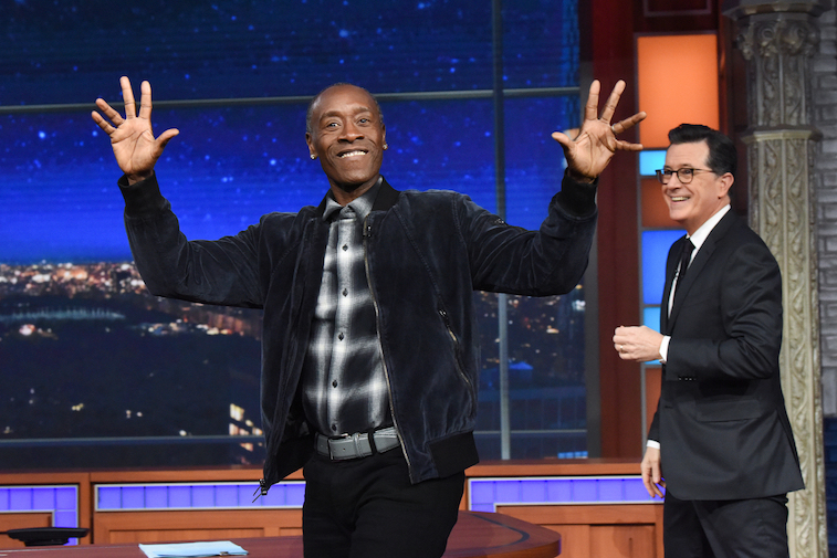 Don Cheadle with Stephen Colbert