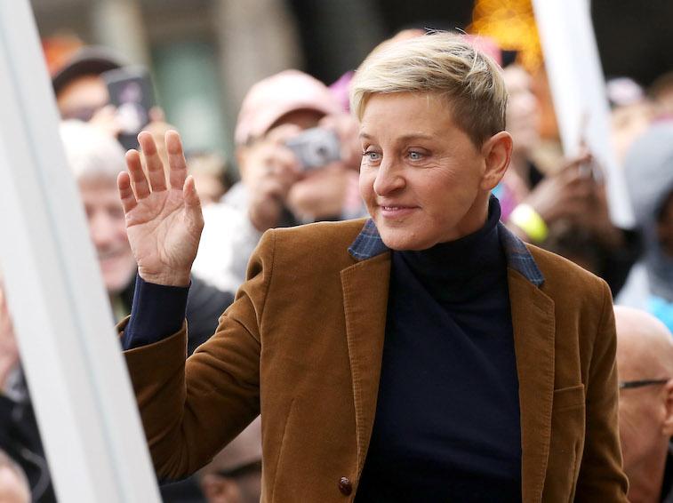 Ellen DeGeneres smiling and waving