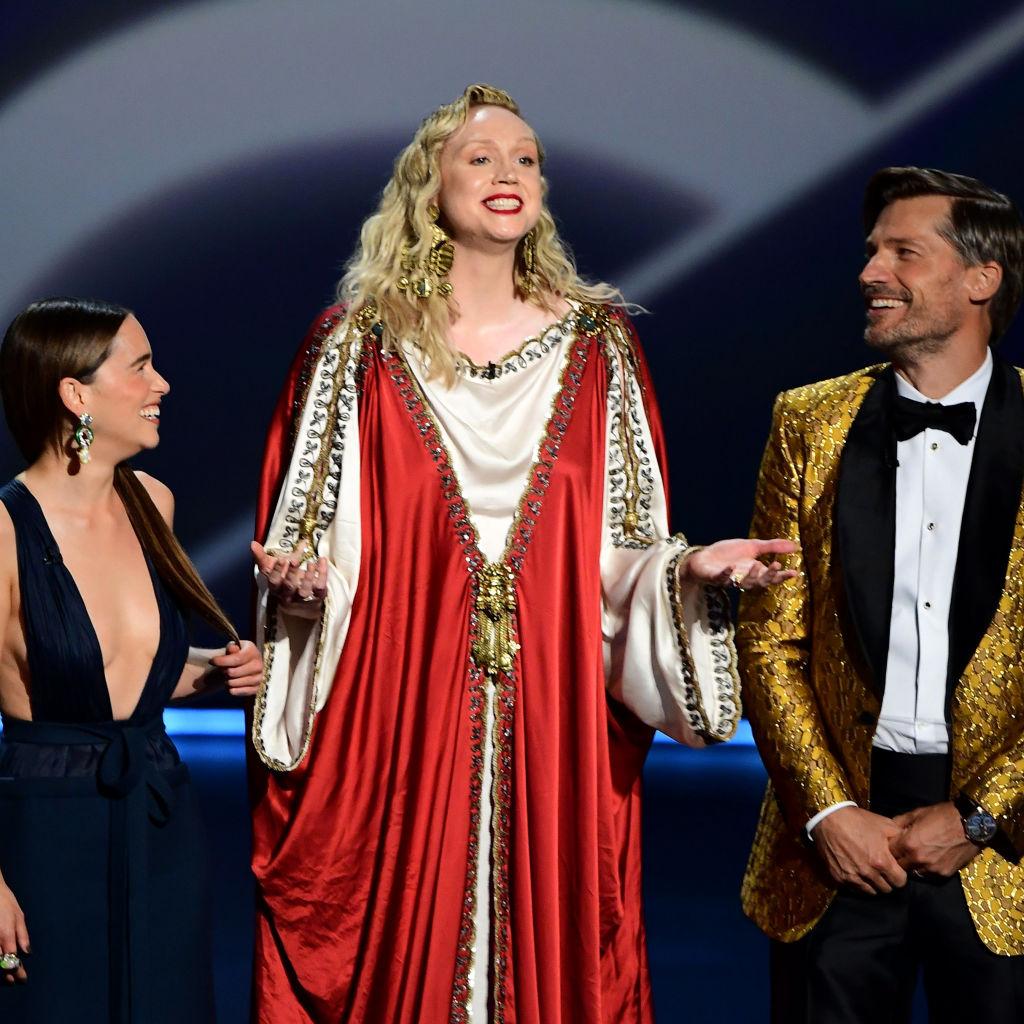 Emilia Clarke (Daenerys Targaryen), Gwendoline Christie (Brienne), Nikolaj Coster Waldau (Jaime Lannister) of Game of Thrones