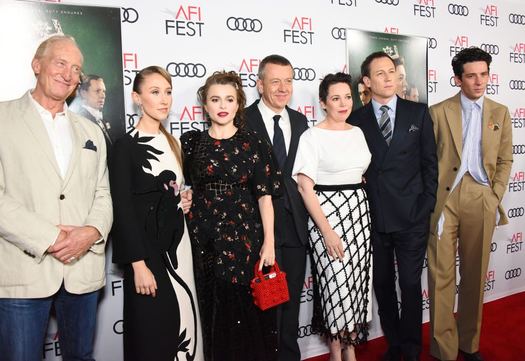 The cast of Netflix's 'The Crown' with show creator Peter Morgan (center)