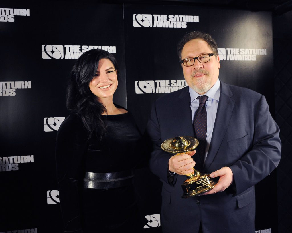 Gina Carano and Jon Favreau