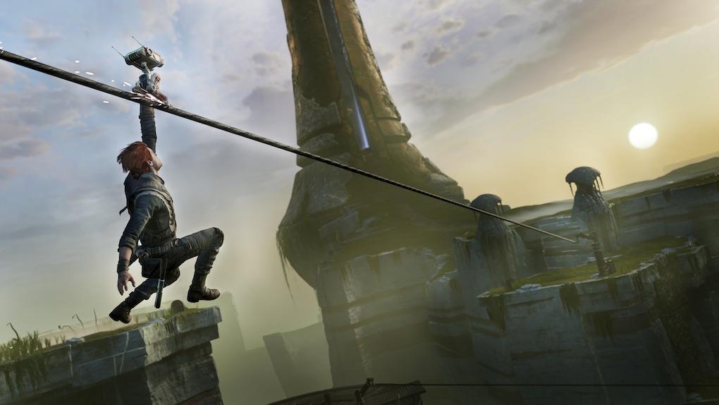 Cal Kestis using BD-1 as a zipline in 'Jedi: Fallen Order.'