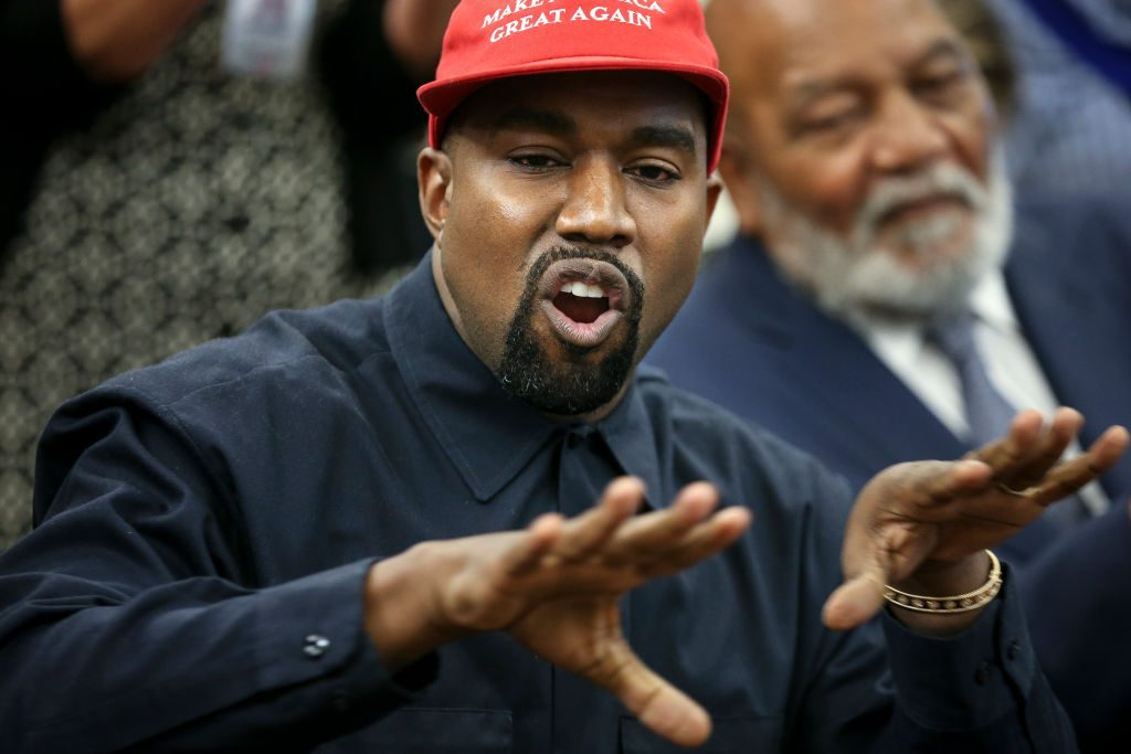 Kanye West speaks during a meeting with U.S. President Donald Trump in the Oval office.