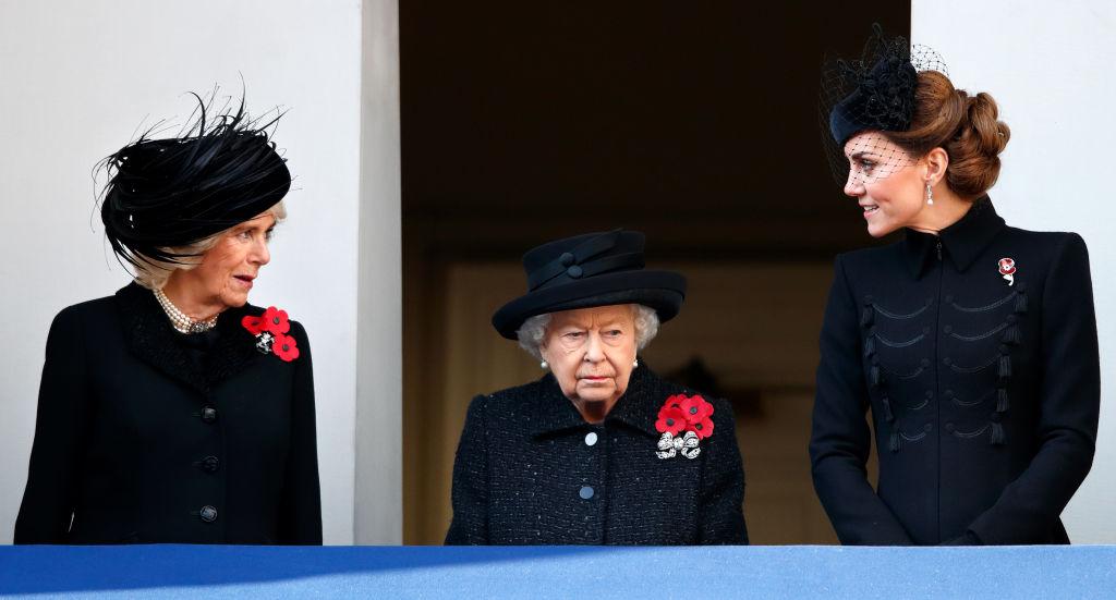 Camilla, Duchess of Cornwall, Queen Elizabeth II and Catherine, Duchess of Cambridge