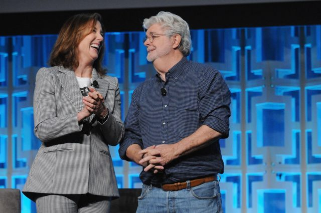 Kathleen Kennedy and George Lucas at Star Wars Celebration
