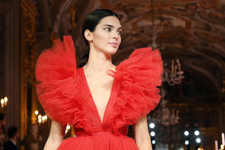 Kendall Jenner walks the runway at a fashion show