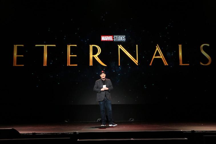 Kevin Feige speaks onstage at D23