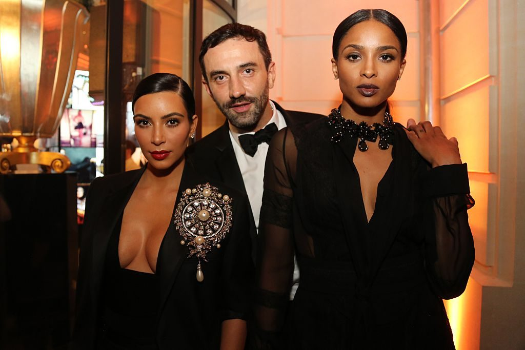 Kim Kardashian, Riccardo Tisci, and Ciara at a fashion event in 2014 in Paris