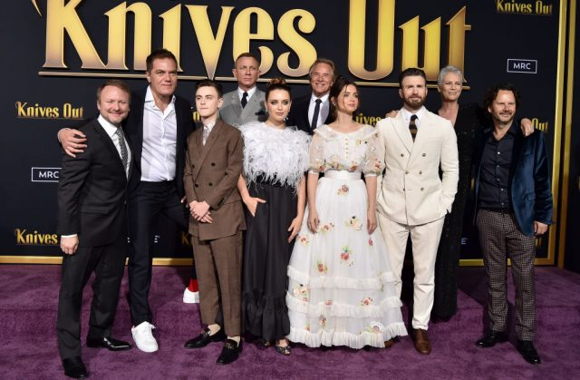 Rian Johnson and the cast of 'Knives Out' at the premiere