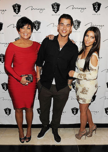 Kris Jenner, Rob Kardashian, and Kim Kardashian West in 2012