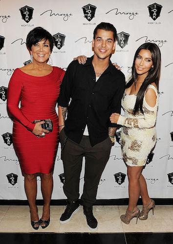 Kris Jenner, Rob Kardashian, and Kim Kardashian West in 2012