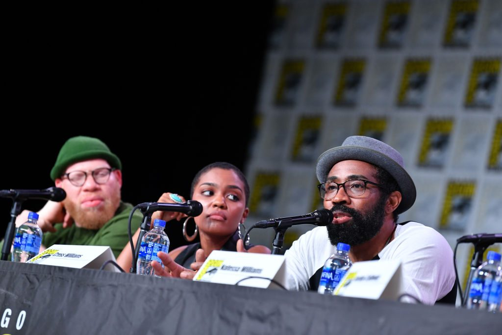 Black Lightning season 3 episode 7 cast (Krondon, China Anne McClain, and Cress Williams)