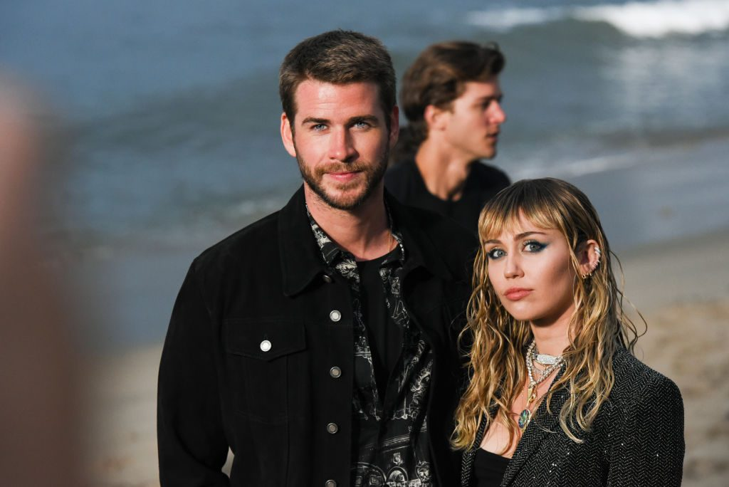 Liam Hemsworth and Miley Cyrus at Saint Laurent mens spring summer 20 show