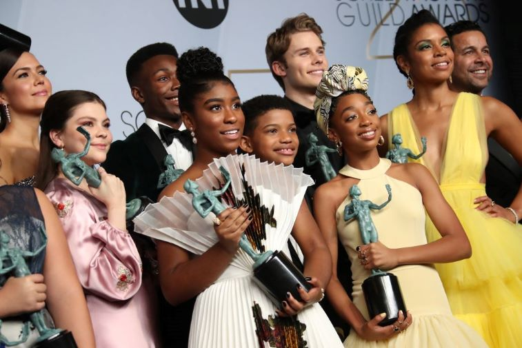 Lyric Ross accepting the award for best ensemble in a drama series