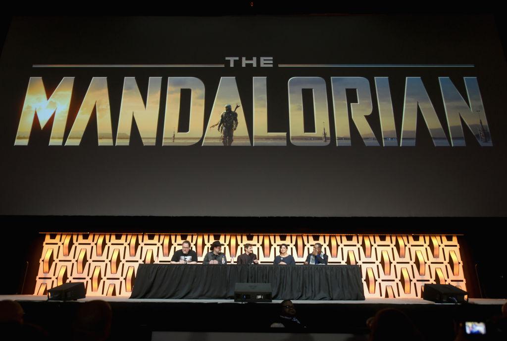 Dave Filoni and Jon Favreau onstage
