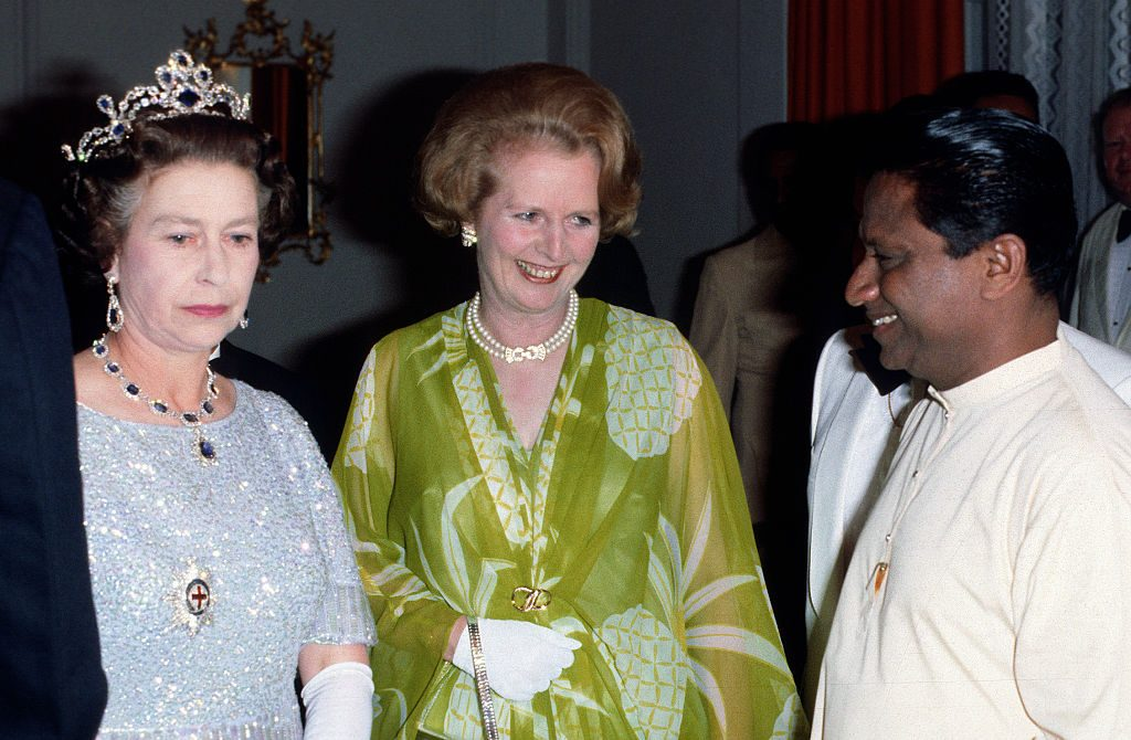 Queen Elizabeth II and Prime Minister Margaret Thatcher attend a ball to celebrate the Commonwealth Heads of Government Meeting hosted by President Kenneth Kaunda on August 01, 1979 in Lusaka, Zambia