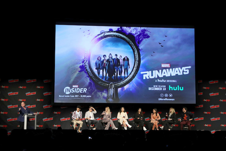 Marvel's Runaways cast onstage