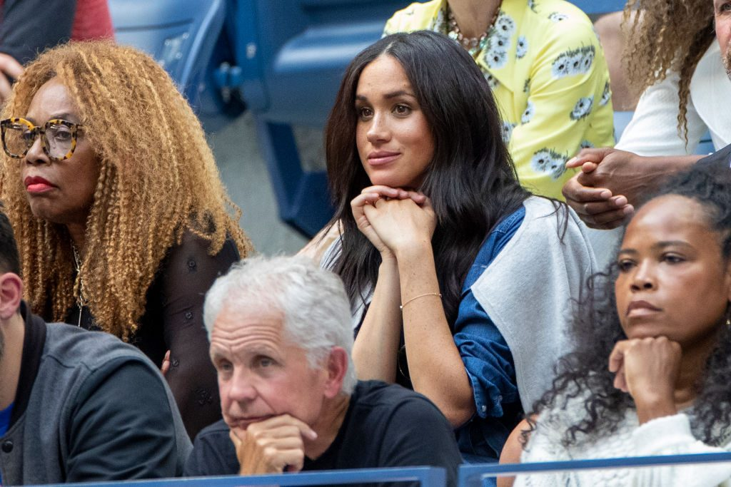 2019 US Open Tennis Tournament- Day Thirteen.    Meghan Markle, Duchess of Sussex watching Serena Williams of the United States in action against Bianca Andreescu of Canada in her team box in the Women's Singles Final on Arthur Ashe Stadium during the 2019 US Open Tennis Tournament at the USTA Billie Jean King National Tennis Center on September 7th, 2019 in Flushing, Queens, New York City