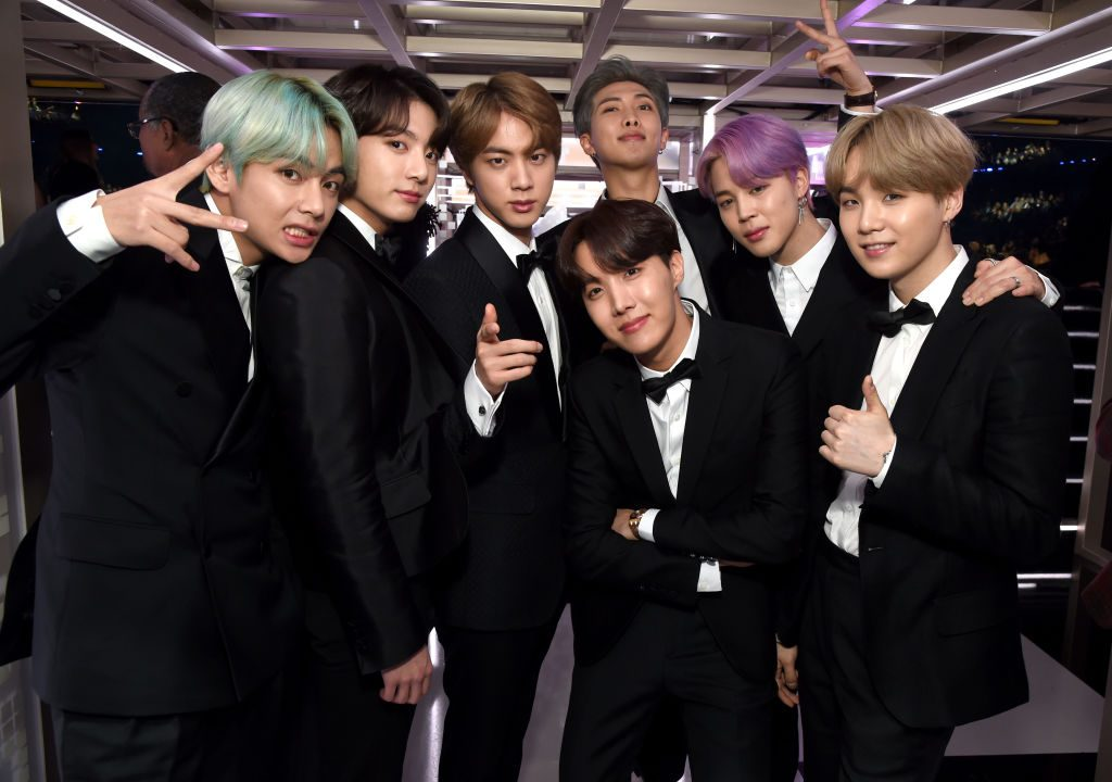 BTS backstage during the 61st Annual GRAMMY Awards at Staples Center on February 10, 2019