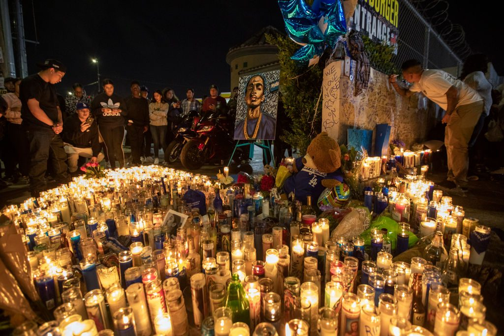People mourn for rapper Nipsey Hussle on April 1, 2019 in Los Angeles, California