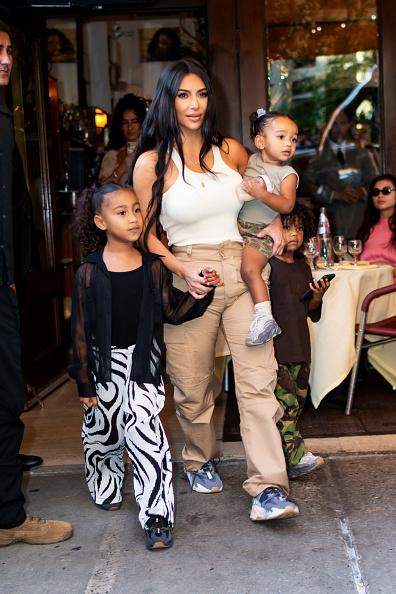 Kim Kardashian West with her kids North West, Chicago West, and Saint West