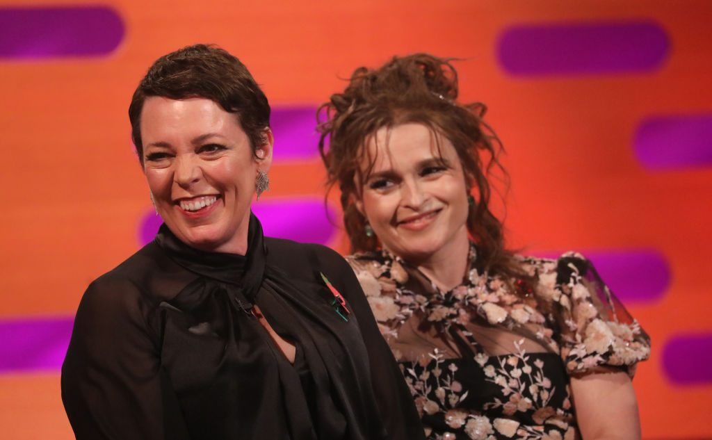 Olivia Colman and Helena Bonham Carter during the filming for the 'Graham Norton Show'