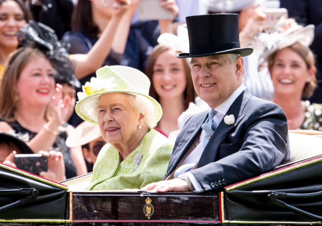 Queen Elizabeth II and Prince Andrew, Duke of York on day five of Royal Ascot at Ascot Racecourse on June 22, 2019 in Ascot, England