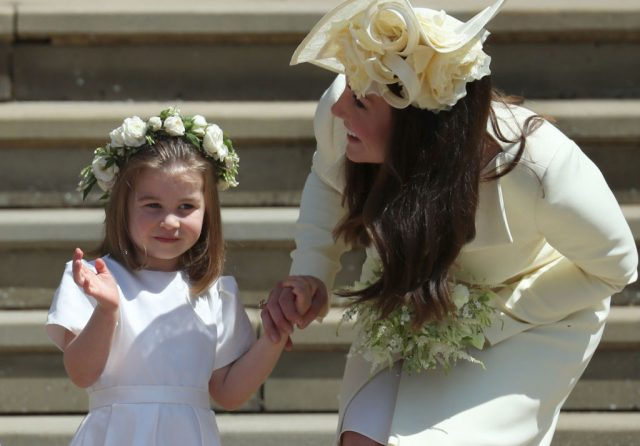 Princess Charlotte and Kate Middleton at Prince Harry and Meghan Markle's royal wedding in 2018