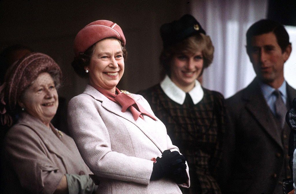 The Queen With The Queen Mother, Princess Diana And Prince Charles At The Braemar Games During Their Annual Holiday In Scotland