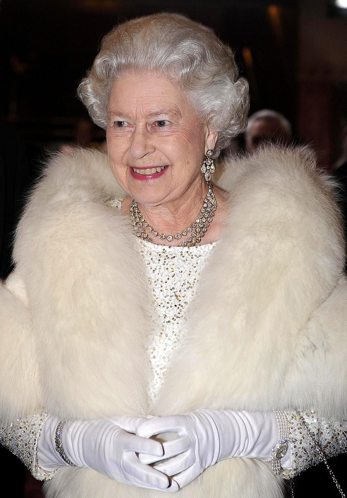Queen Elizabeth II arrives at the Empire Theatre for the 2007 Royal Variety Performance.