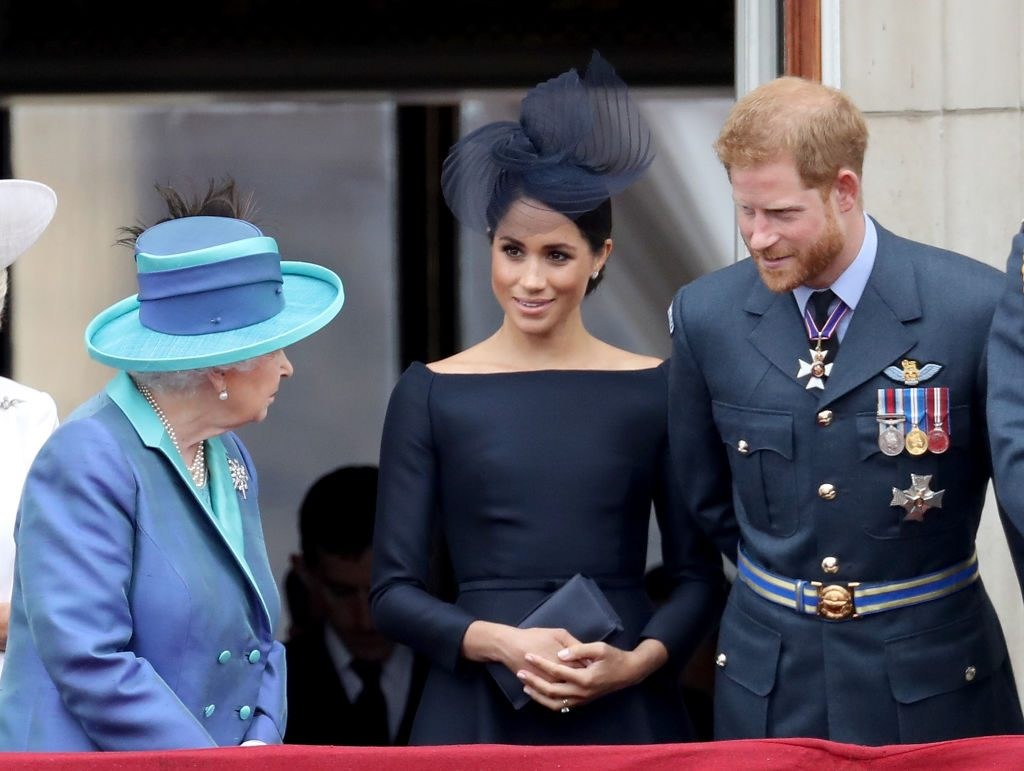 Queen Elizabeth II, Meghan Markle, and Prince Harry