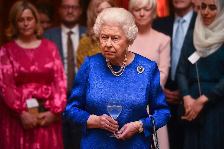 Queen Elizabeth in a blue dress
