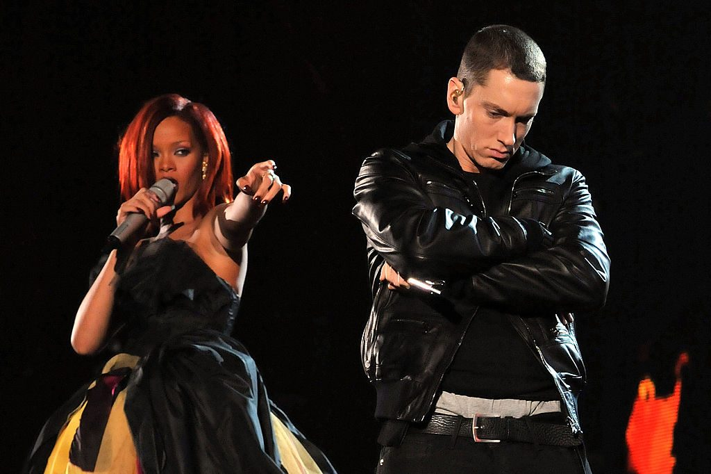 Rihanna and Eminem perform onstage at the 2011 Grammys