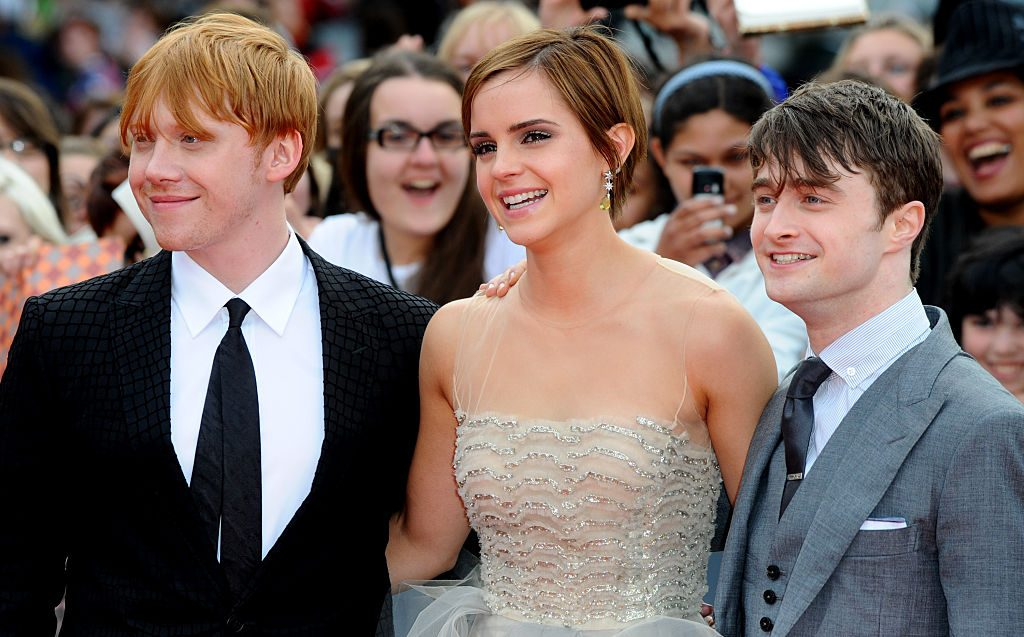 Rupert Grint, Emma Watson, and Daniel Radcliffe at Harry Potter and the Deathly Hallows: Part 2 Premiere - London
