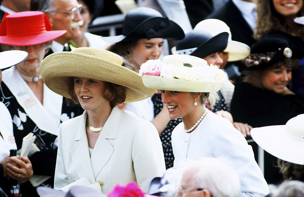 Princess Diana, Princess of Wales and Sarah Ferguson (Fergie, Duchess of York) at the Royal Ascot races in Ascot, England in 199