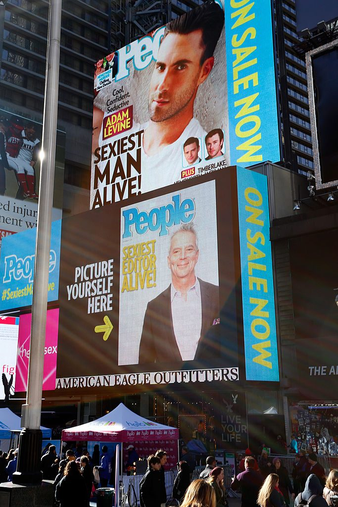 """Managing Editor for People Magazine Larry Hackett attends People Celebrates Iconic """"Sexiest Man Alive"""" Issue in Times Square"""