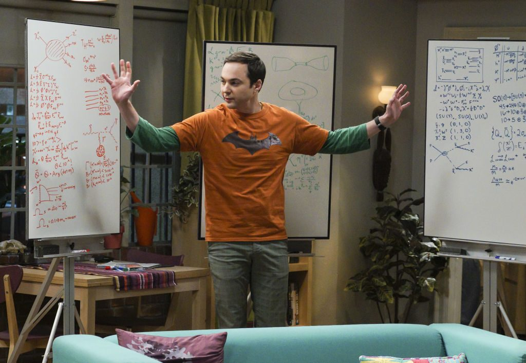 Sheldon Cooper in front of his whiteboards