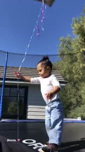 Kylie Jenner records Stormi on the trampoline
