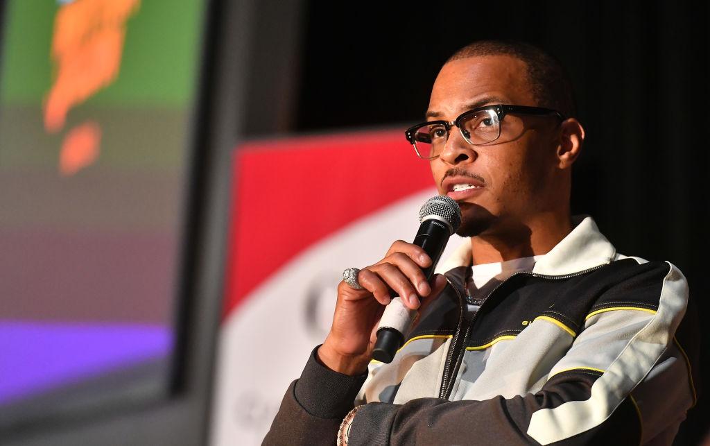 Rapper T.I. speaks at a panel for 'Rhythm+Flow.'