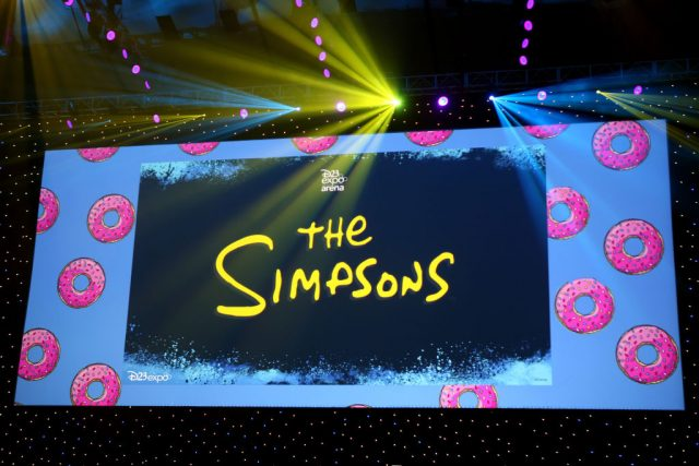 The screen at The Simpsons panel during the D23 Expo