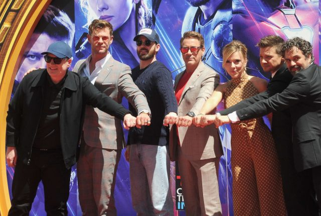 Kevin Feige, Chris Hemsworth, Chris Evans, Scarlett Johansson, Mark Ruffalo, and Jeremy Renner