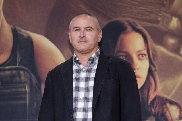 Director Tim Miller at a press conference for 'Terminator: Dark Fate'