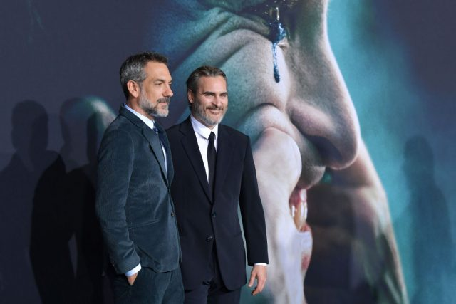 Todd Phillips and Joaquin Phoenix at the premiere of 'Joker'