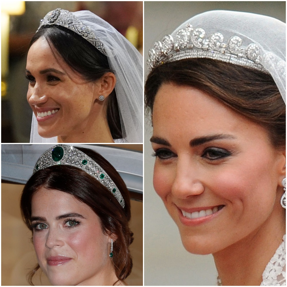 Top left- Meghan Markle, Bottom Left- Princess Eugenie, Right- Kate Middleton
