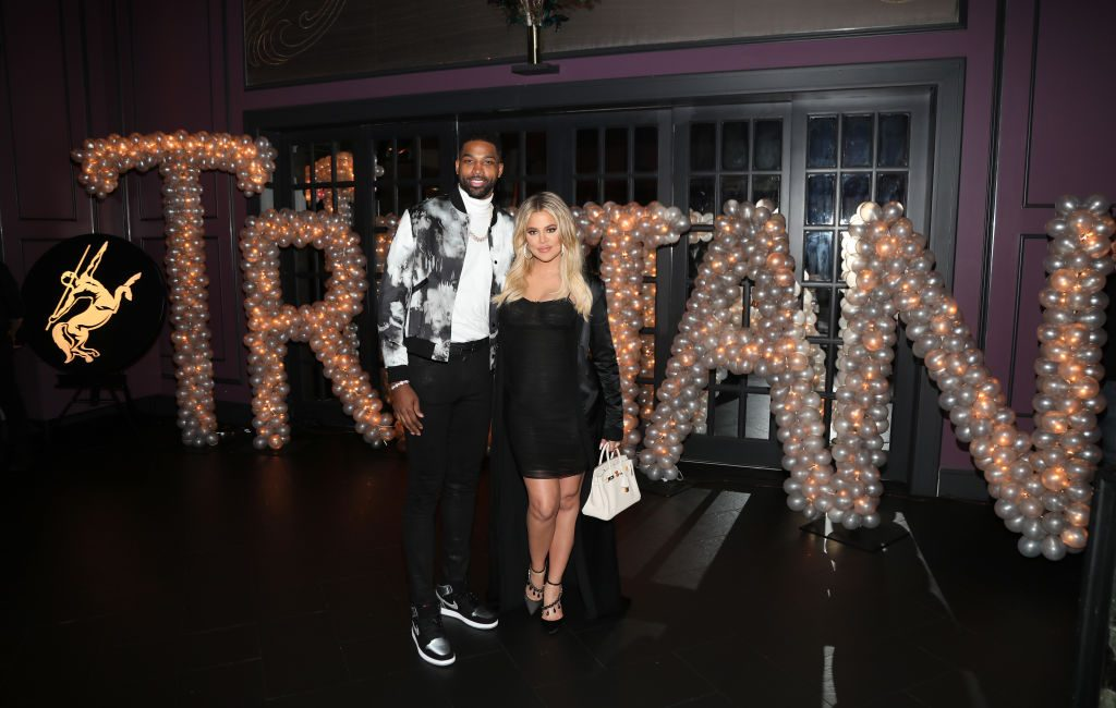 Tristan Thompson and Khloe Kardashian at a party