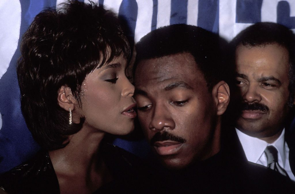 Whitney Houston and Eddie Murphy at an event in 1989