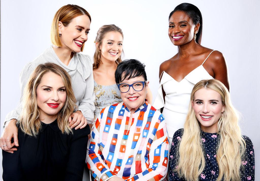 Sarah Paulson, Billie Lourd, Adina Porter, Leslie Grossman, Kathy Bates, and Emma Roberts of 'American Horror Story: Apocalypse' pose for a photo at 2018 TCA.