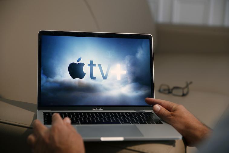 Apple TV+ logo on a laptop screen